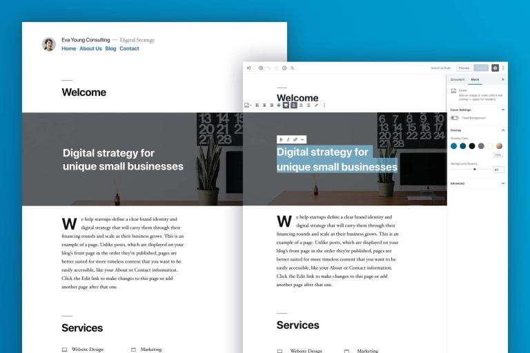 frontend and backend of the new WordPress Default Twenty Nineteen Theme